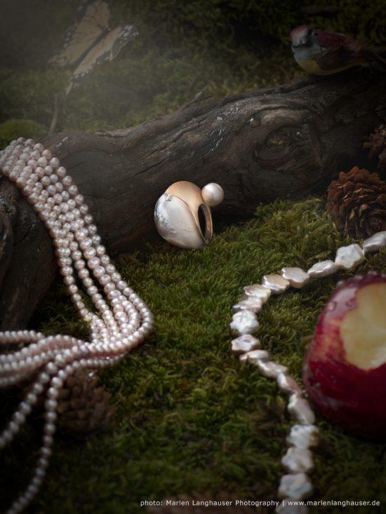 Ring pink shell mit Roségold und Südseeperle von stephanie henzler