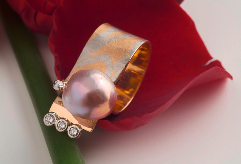 Ring 750 Rosegold Brillanten Kasumigauraperle
