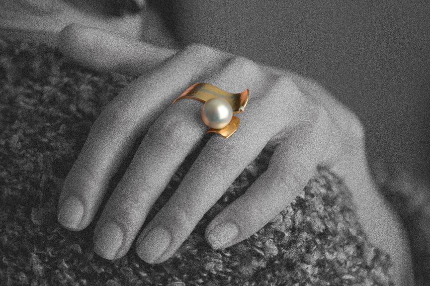 Ring 750 Rosegold Platin Brillant Tahitiperle