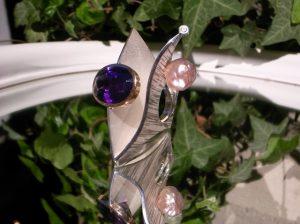 Ring 925 Silber und Palladium Amethyst