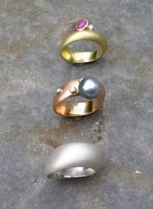 Ringe 750 Gold Rotgold und 925 Silber