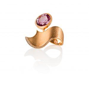 Ring pink Wave - Rosegold mit Kunzit