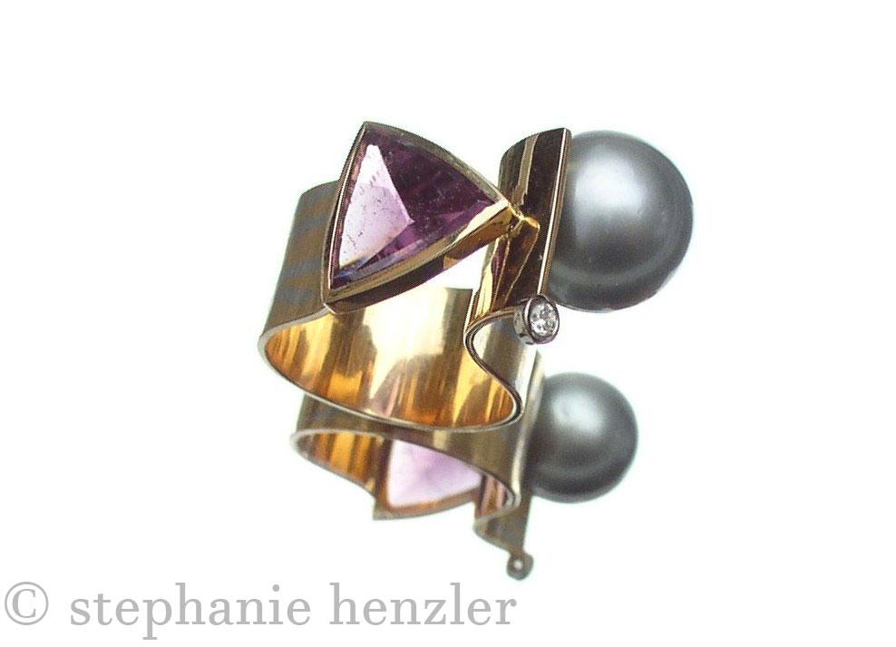 Ring 750 Rosegold mit Platin Tahitiperle Brillant und Turmalin von Stephanie Henzler - Goldschmiede-Atelier