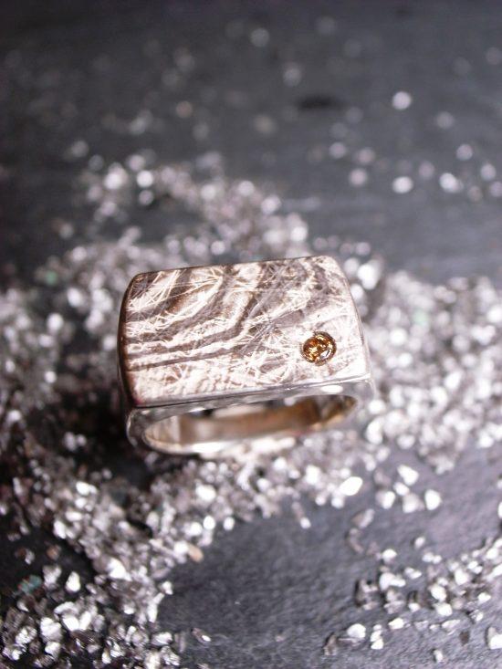 Männerring BROWN STAR aus 925 Silber mit Palladium und 1 braunem Brillant von Stephanie Henzler - Goldschmiede-Atelier
