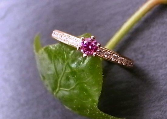 Verlobungsring PINK DIAMOND aus 750 Gelbgold mit Brillanten
