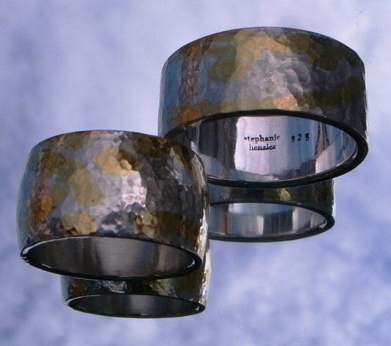 Eheringe Silber mit Feingold Hammerschlag